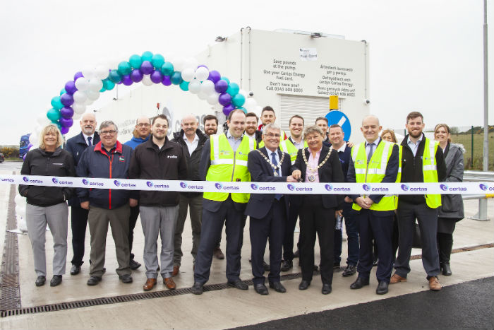 mayor-of-holyhead-town-council-cllr-keith-thomas-and-deputy-chair-of-anglesey-county-council-cllr-margaret-roberts-officially-open-the-certas-energy-refuelling-bunker-at-holyhead
